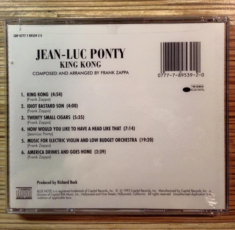 Jean Luc Ponty King Kong cd
